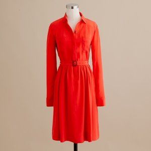 J crew Blythe dress in poppy red 4 NWOT 100% silk
